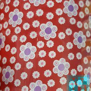 Rood Cadeaupapier met Bloemen C4104