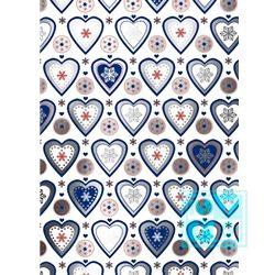Wit Inpakpapier Hartjes Blauw C4159
