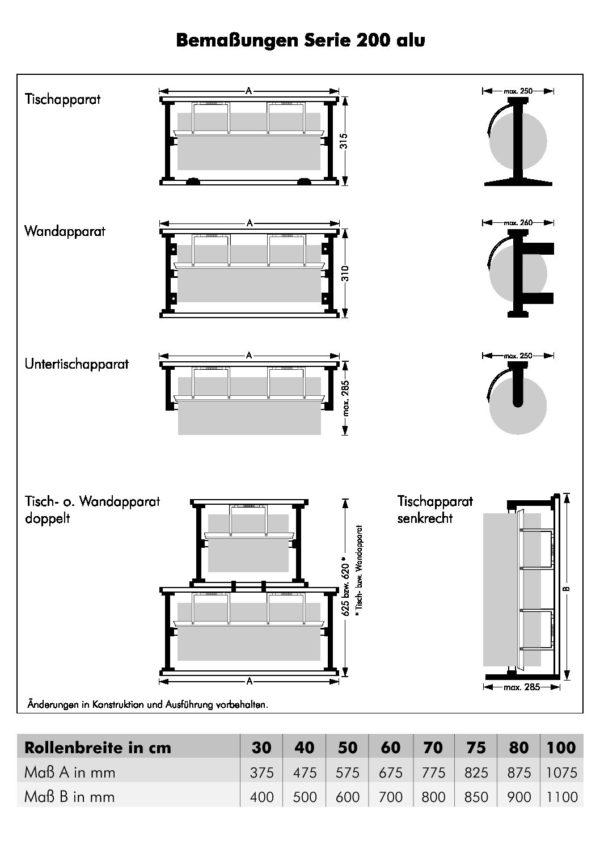 Papierrolhouder OPZETmodel tbv tafelmodel Serie 200 Alu