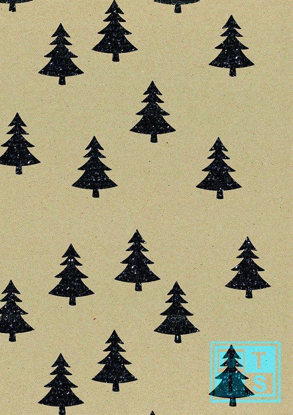 Kerstpapier kerstbomen Zwart K1591580-2