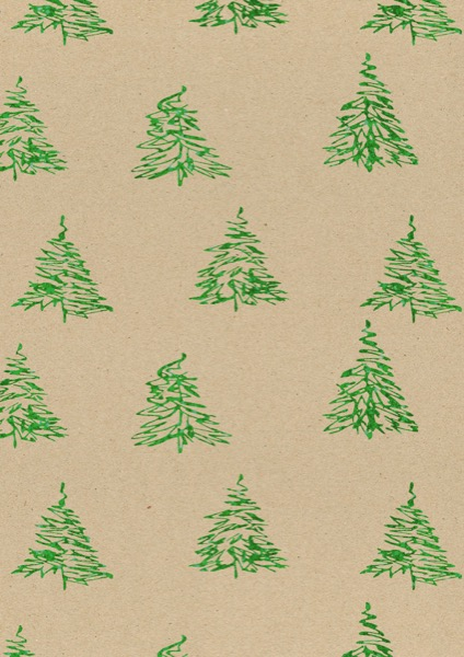 Cadeaupapier Kerst Glitter Kerstbomen Groen K1591700-2