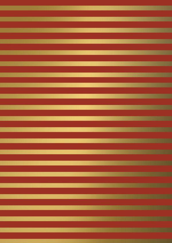 Kerstpapier Stripes Gold Rood