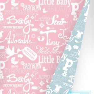 Cadeaupapier licht blauw/roze K601449-1