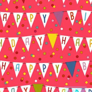 Cadeaupapier Verjaardag: Happy Birthday K606142/5 Vlaggen