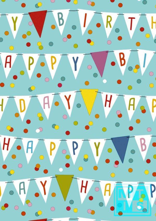 Cadeaupapier Happy Birthday Flags 601642 MTpapier