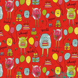 Cadeaupapier Monster Party Rood K601740/2
