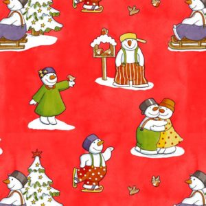 Cadeaupapier Kerst: K691349-1 - Snowman In Love Red