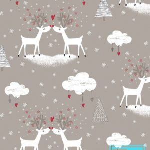 Inpakpapier kerstmis: Deers in Love Grey K691667-1