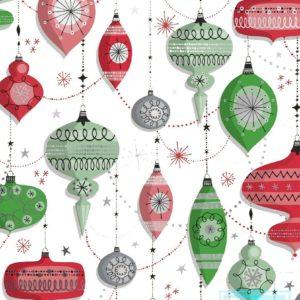 Metallic Kerstpapier Kerstballen Rood Groen K891671-3