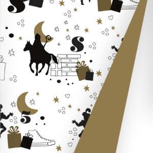 Sinterklaas Cadeaupapier S691668-2 - op de hoge daken zwart goud