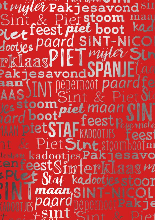 Sint Piet December Cadeaupapier Handlettering S891827-3 Rood