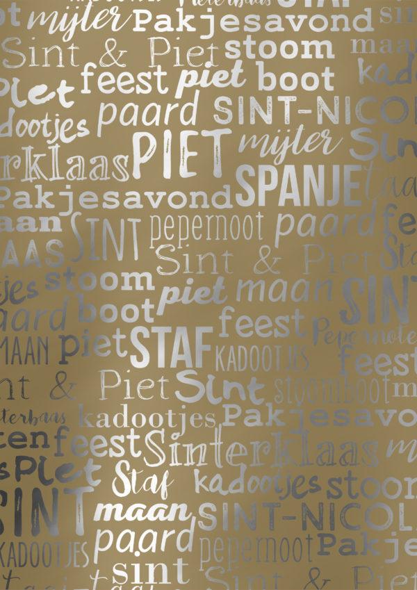 Sint Piet December Cadeaupapier Handlettering S891827