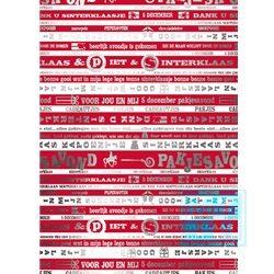 Cadeaupapier Sinterklaas: S891490-1 Dank u sinterklaasje, rood wit