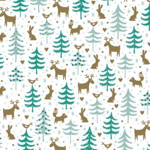 Kerst cadeaupapier met Rendieren en Bomen