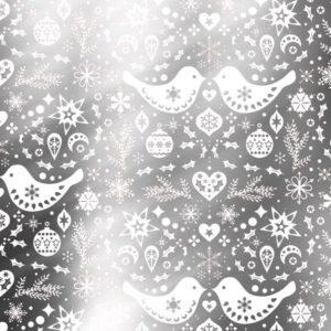 Kerstpapier Folk Cadeaupapier Zilver - Wit