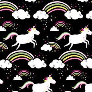 Cadeaupapier Unicorn - Eenhoorn Zwart K601741-2