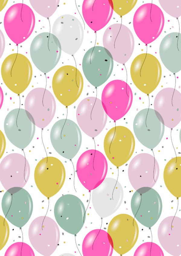 Kinderpapier Confetti & Ballonnen K601930