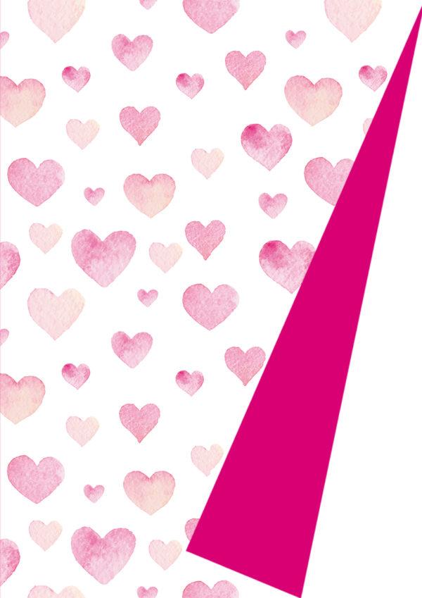 Roze hartjes Cadeaupapier K602015