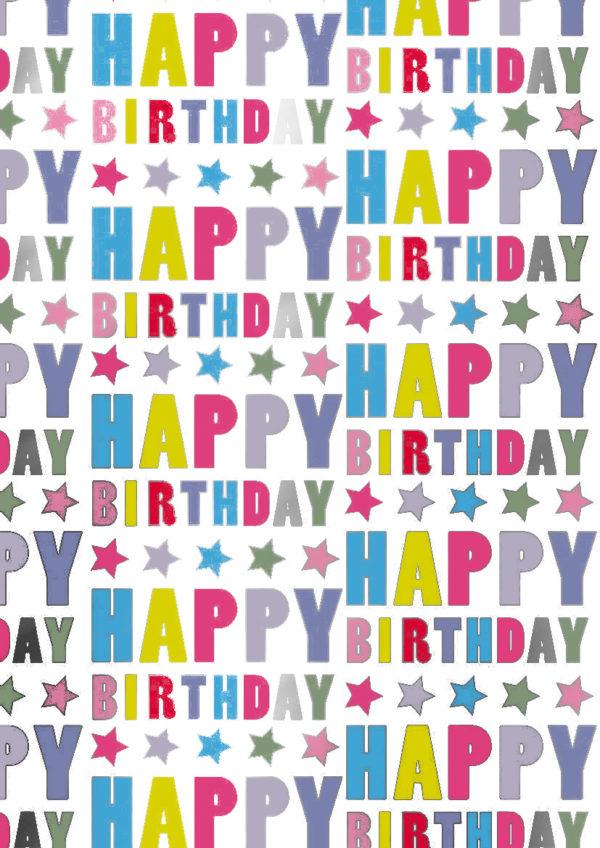 Inpakpapier cadeaupapier Happy Birthday Sterren K801516