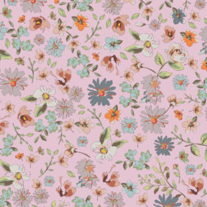 Cadeaupapier met bloemen, Roze K601755-2