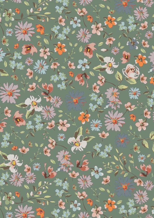 Cadeaupapier met bloemen, Groen K601755-3