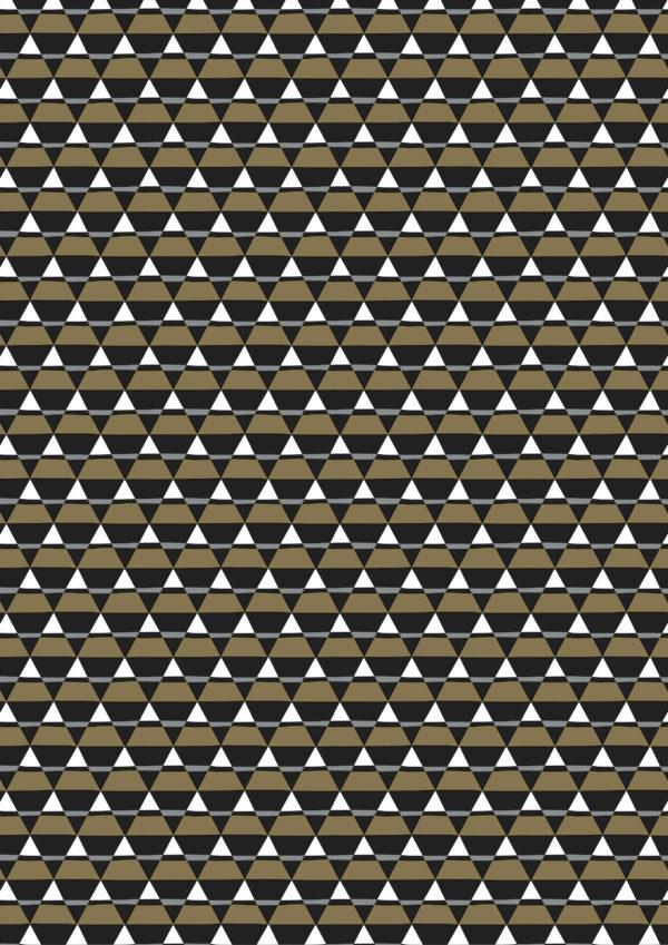 Cadeaupapier Driehoeken Zwart Goud
