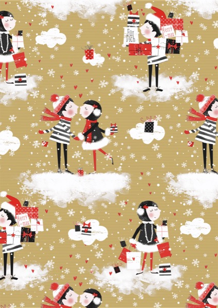 Kerst Inpakpapier Kissing Kraft