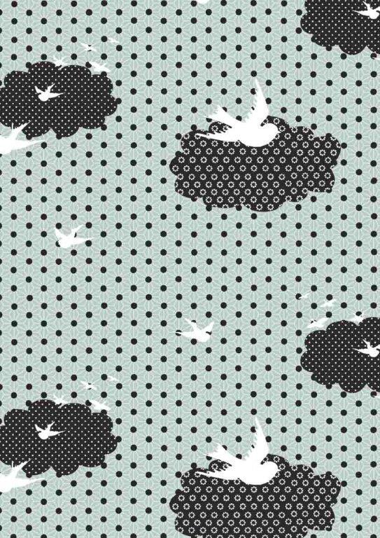 Geschenkpapier C4036 Vogels en Stippen Groen