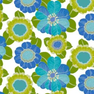 Geschenkpapier C4038 Bloemen Blauw Groen