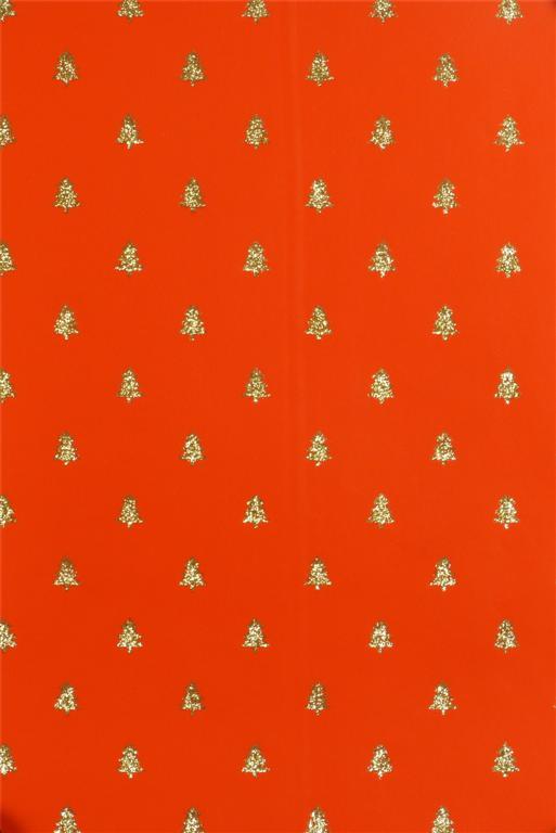 Cadeaupapier Kerstbomen Goud Glitter