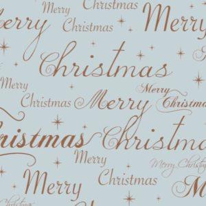 Cadeaupapier Merry Xmas Blauw Koper