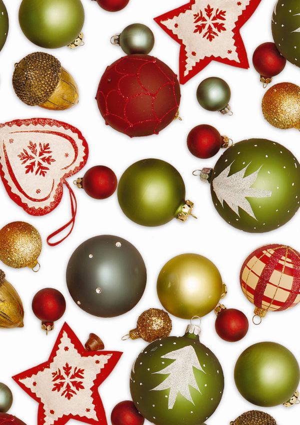 Kerst Cadeaupapier kerstballen Rood Groen
