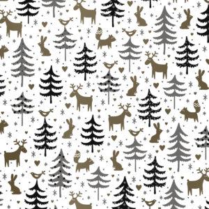 Kerst cadeaupapier met Rendieren en Bomen Wit Goud