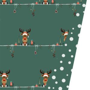 Kerst inpakpapier met Rendieren op een groene achtergrond
