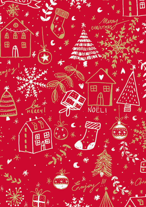 Bedrukt kraftpapier: Merry Christmas Rood