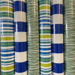 Cadeaupapier Assorti Consumentenrollen blauw wit groen gestreept, 6 rollen