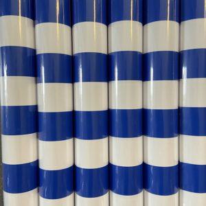 Cadeaupapier Assorti Consumentenrollen blauw wit gestreept, 6 rollen