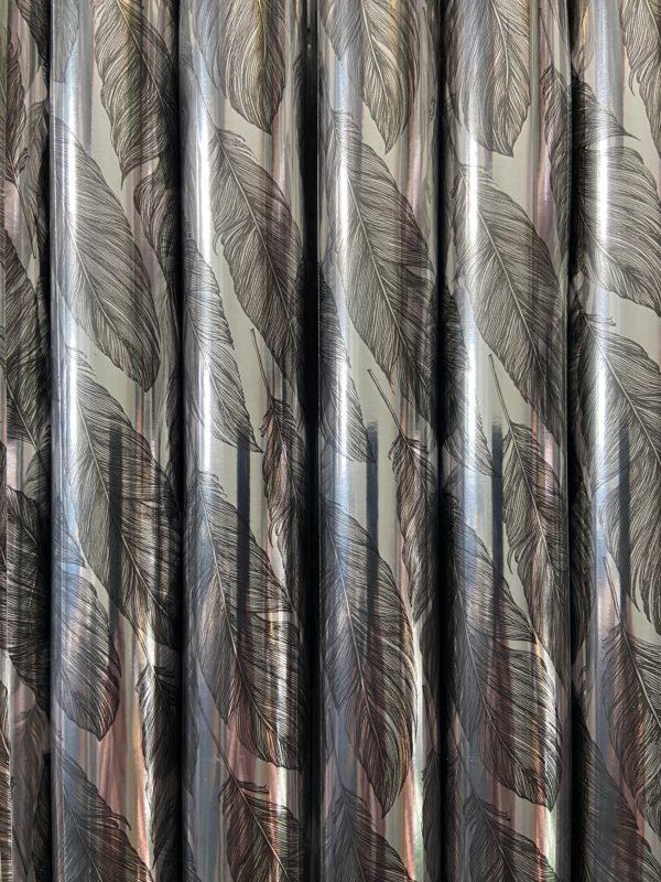 Cadeaupapier Assorti Consumentenrollen Zilver Metallic met veren, 6 rollen