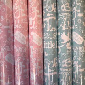 Cadeaupapier Baby Roze en Blauw 6 Kleine rollen 150 x 70cm
