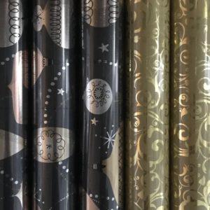Cadeaupapier 150 x 70cm Kerstballen - Swirl Goud Metallic