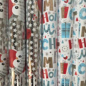 Cadeaupapier 150 x 70cm Kerstmis - Uilen