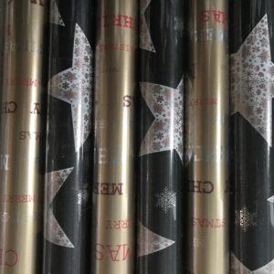 Cadeaupapier 150 x 70cm Kerststerren - Swirl Goud Metallic
