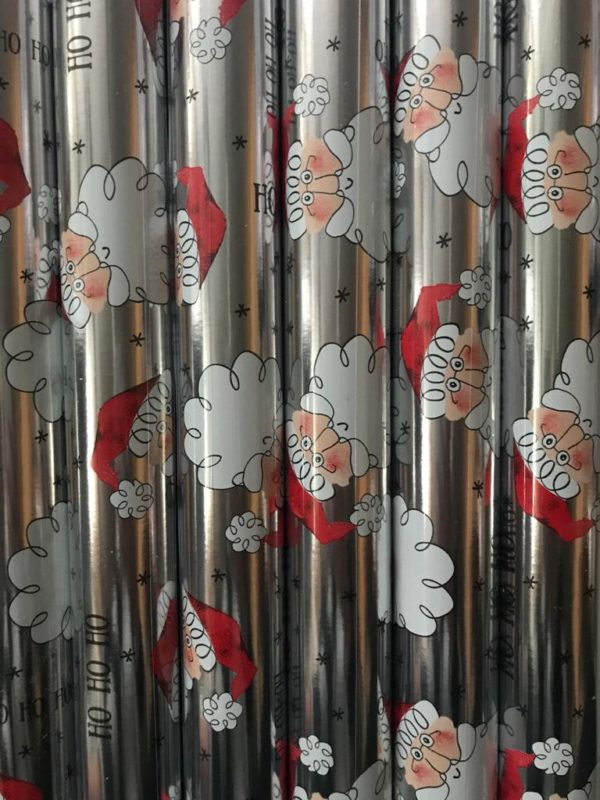 Kleine rollen inpakpapier 150 x 70cm Kerstman Metallic