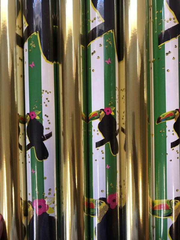 Cadeaupapier 6 Kleine rollen 150x70cm Vogel en Goud
