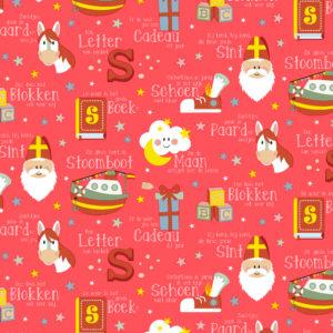 Sinterklaas cadeaupapier Neon Sint Rood