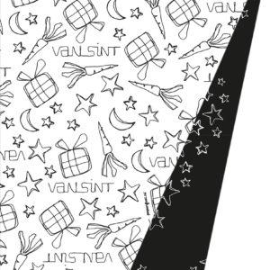 Sinterklaaspapier inpakpapier Zwart Wit Doodles