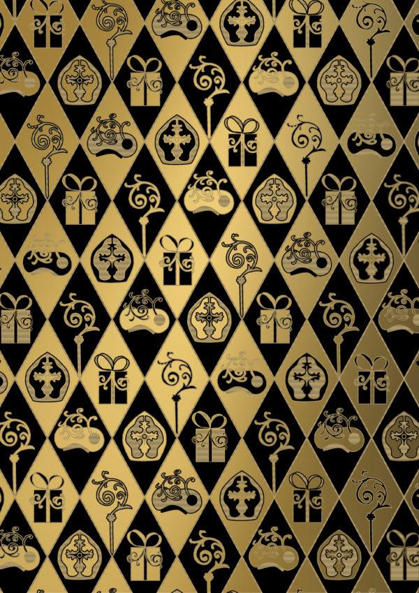 Het Sinterklaas inpakpapier Goud Classic