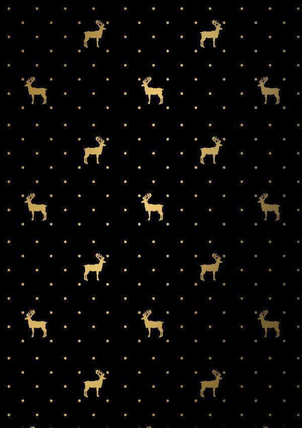 Zwart Goud Kerst papier Rendieren