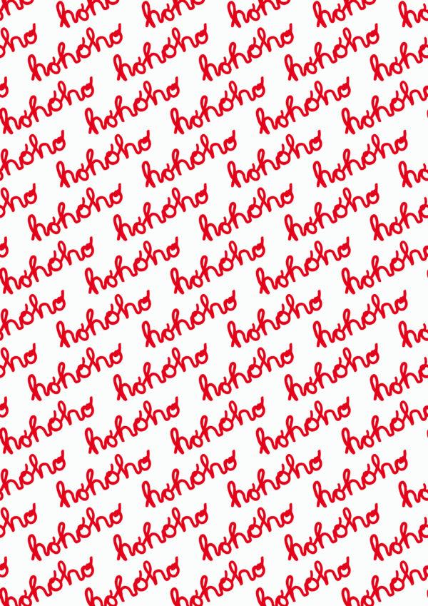 Kerst cadeaupapier Hohoho rood