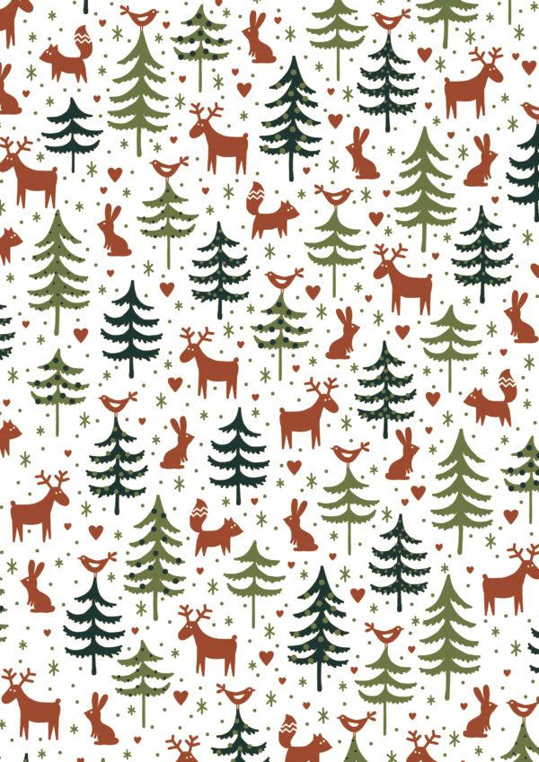 Kerst cadeaupapier Rendieren Groen Bruin